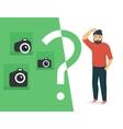 Confused man is choosing a camera vector image