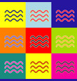 waves sign pop-art style vector image