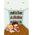Two girls reading inside the room vector image vector image