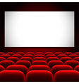 Cinema screen and red seats background vector image