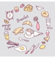 Hand drawn breakfast item set Cute food vector image