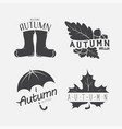 set of autumn black emblems on the white vector image