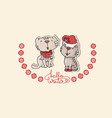 two cute cats and handwritten text hello winter vector image