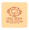 Kids club logo with teddy bear cute kindergarten vector image
