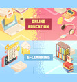 online education horizontal isometric banners vector image