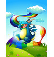 A dragon at the hilltop and a rainbow in the sky vector image