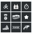 Sports jogging discipline icons set vector image