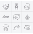 Corner sofa table and armchair icons vector image