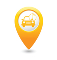 car with music icon map pointer yellow vector image