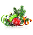 Christmas tree balls with green and orange ribbons vector image