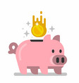 gold coins raining to piggy bank vector image