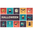 halloween - modern flat design icons set vector image