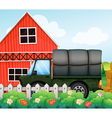 A green cargo inside the fence vector image vector image
