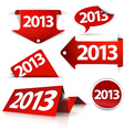 Red 2013 Labels stickers pointers tags vector image vector image