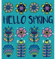 Hello spring greeting card with decorative flowers vector image vector image
