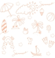 Beach element doodle vector image