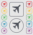 airplane icon sign symbol on the Round and square vector image