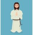 Jesus christ prayer kneeling design vector image