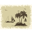 Sea Landscape with Palms and Ships Silhouettes vector image