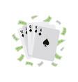 spade royal flush winning poker hand and money vector image