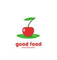 vegetarian cafe logo design vector image