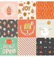 Collection of 9 Christmas gift tags and cards vector image