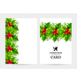 Christmas background with holly leaves decorations vector image vector image
