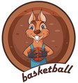 cute squirrel animal playing basketball vector image