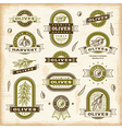 Vintage olive labels set vector image