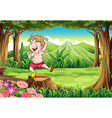 A playful young boy at the forest standing above vector image vector image