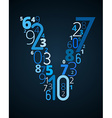 Letter V font from numbers vector image