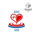 Heart with blood drop and heartbeat symbol vector image