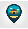 Bungalow with palm trees pin map icon Vacation vector image