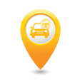 car with rudder icon map pointer yellow vector image