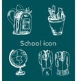 Hand drawn school icon set vector image