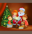 santa claus reading the book to children vector image