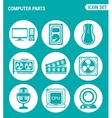 set of round icons white Computer parts Computer vector image