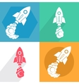 Set Rocket ship in a flat style vector image