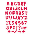 sketch red latin blood alphabet vector image