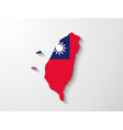 Taiwan map with shadow effect vector image