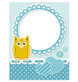 Baby owl blue scrapbook frame vector