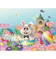 An easter bunny in the garden near the castle vector image