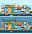 city life horizontal flat banners vector image