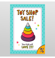 Toy shop sale flyer design with toy pyramid with vector image
