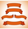 set of red retro banners or ribbons vector image