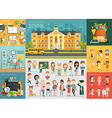 School theme set Back to school workplace school vector image vector image