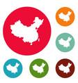 china map icons circle set vector image