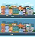 city life horizontal flat banners vector image