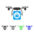 Drone cannabis delivery flat icon vector image