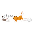 Ginger cat chasing a mouse vector image